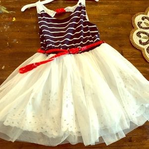 Girls Nautical red white and blue dress